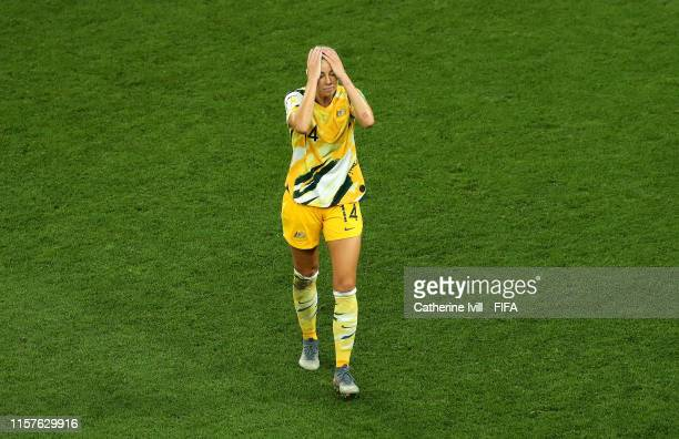 Alanna Kennedy of Australia leaves the pitch after receiving a red card during the 2019 FIFA Women's World Cup France Round Of 16 match between...