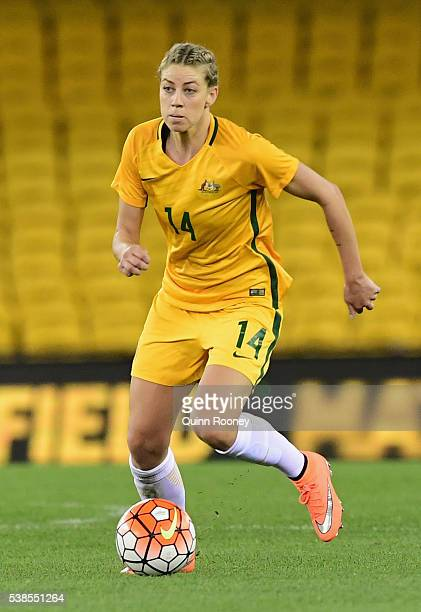 Alanna Kennedy of Australia passes the ball during the Women's International Friendly match between the Australia Matildas and the New Zealand...