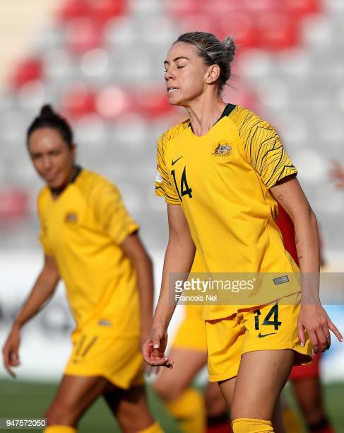 Alanna Kennedy of Australia reacts during the AFC Women's Asian Cup semi final between Australia and Thailand at the King Abdullah II Stadium on...