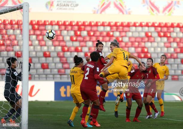 Alanna Kennedy of Australia scores the second goal during the AFC Women's Asian Cup semi final between Australia and Thailand at the King Abdullah II...