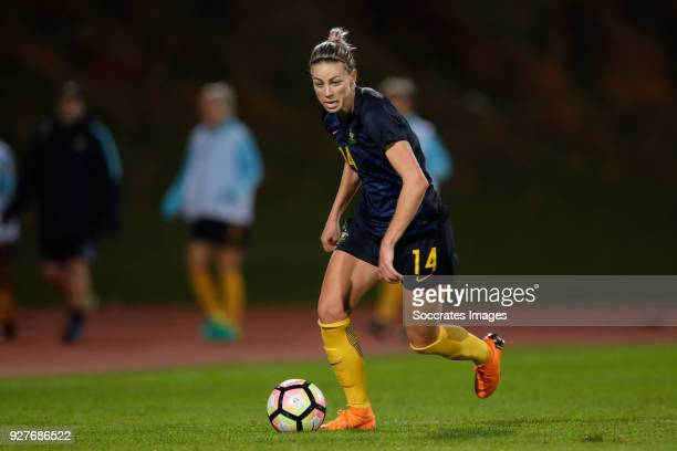 Alanna Kennedy of Australia Women during the Algarve Cup Women match between Australia v China PR at the Estádio Municipal de Albufeira on March 5...