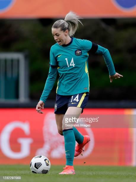 Alanna Kennedy of Australia Women during the International Friendly Women match between Holland v Australia at the Goffert Stadium on April 13, 2021...