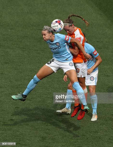 Alanna Kennedy of Melbourne City heads the ball during the round 12 WLeague match between Melbourne City and the Brisbane Roar at AAMI Park on...