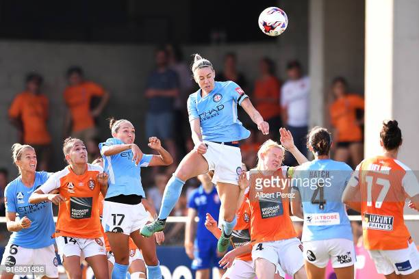 Alanna Kennedy of Melbourne City heads the ball during the WLeague Semi Final match between the Brisbane Roar and Melbourne City at Perry Park on...