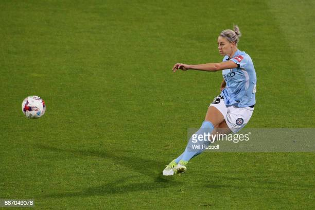 Alanna Kennedy of Melbourne City kicks the ball during the round one WLeague match between the Perth Glory and Melbourne City FC at nib Stadium on...
