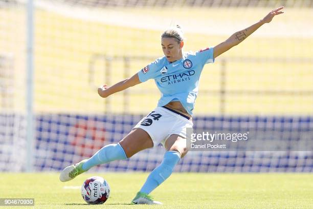 Alanna Kennedy of Melbourne City passes the ball during the round 11 WLeague match between the Melbourne Victory and Melbourne City at Epping Stadium...
