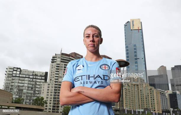 Alanna Kennedy of Melbourne City Womens team poses during a Melbourne City WLeague media opportunity at SBS Studios on October 25 2017 in Melbourne...