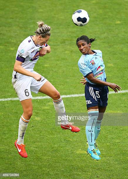 Alanna Kennedy of Perth and Jasmyne Spencer of Sydney contest possession during the round 11 WLeague match between Sydney FC and Perth Glory at WIN...