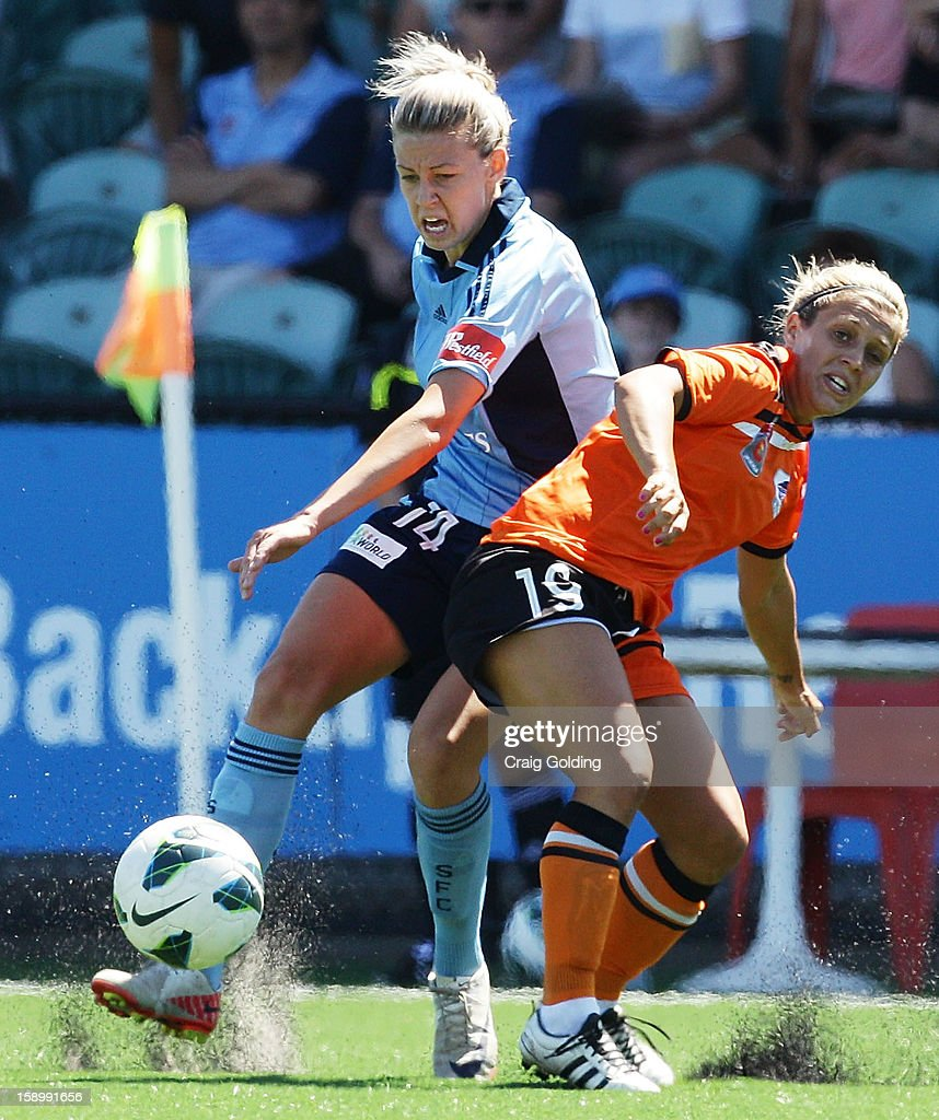 Alanna Kennedy of Sydney and Katrina Gorry of the Roar during the round 11 W-League match between Sydney FC and the Brisbane Roar on January 5, 2013 in Sydney, Australia.