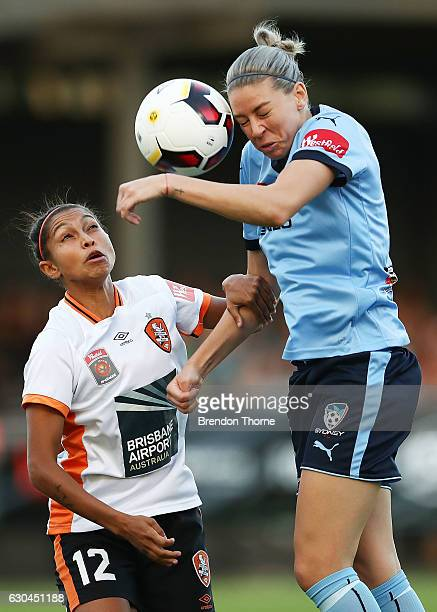 Alanna Kennedy of Sydney competes with Allira Toby of the Roar during the round eight WLeague match between Sydney and Brisbane at Lambert Park on...