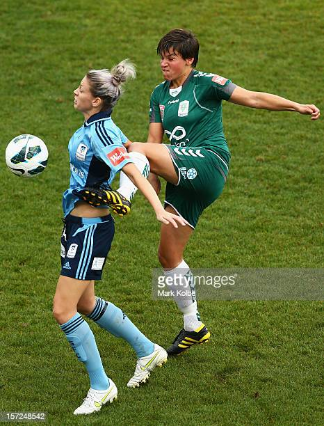 Alanna Kennedy of Sydney FC and Ariane Hingst of United compete for the ball during the round seven W-League match between Sydney FC and Canberra...