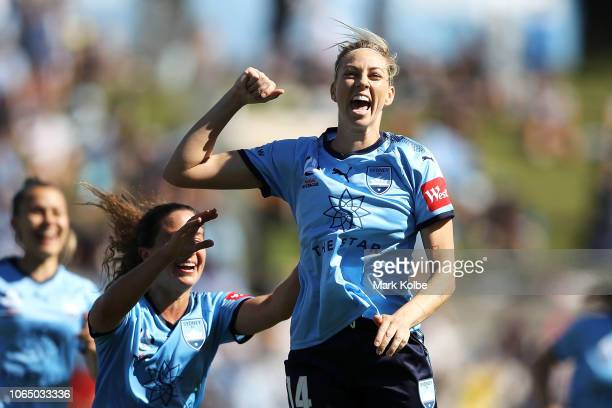 Alanna Kennedy of Sydney FC celebrates scoring a goal during the round four WLeague match between Sydney FC and the Melbourne Victory at WIN Jubilee...