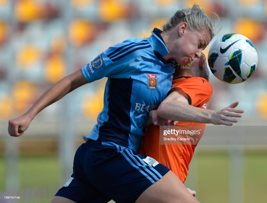 Alanna Kennedy of Sydney is penalised for this challenge on Clare Polkinghorne of the Roar during the W-League Semi Final match between the Brisbane Roar and Sydney FC at Queensland Sport and Athletics Centre on January 19, 2013 in Brisbane, Australia.