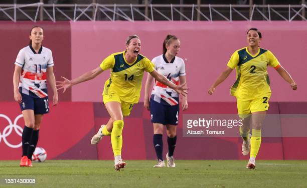 Alanna Kennedy of Team Australia celebrates after scoring their side's first goal during the Women's Quarter Final match between Great Britain and...