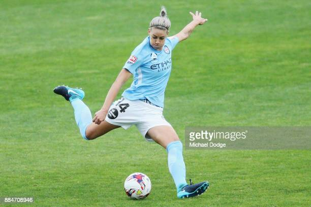 Alanna Kennedy of the City kicks the ball during the round six WLeague match between Melbourne City and Adelaide United at CB Smith Reserve on...