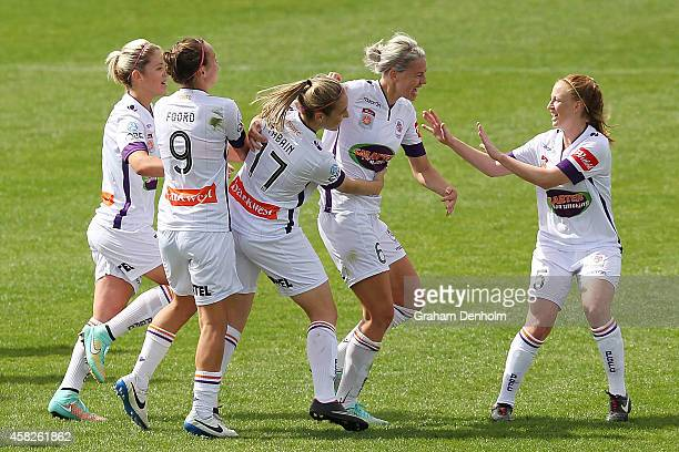 Alanna Kennedy of the Glory celebrates her goal with her teammates during the round eight WLeague match between Melbourne and Perth at Lakeside...