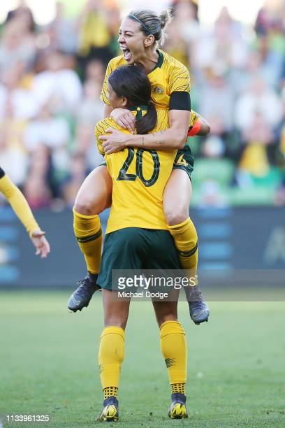 Alanna Kennedy of the Matildas celebrates a goal on Sam Kerr of the Matildas during the Cup of Nations match between Australia and Argentina at AAMI...