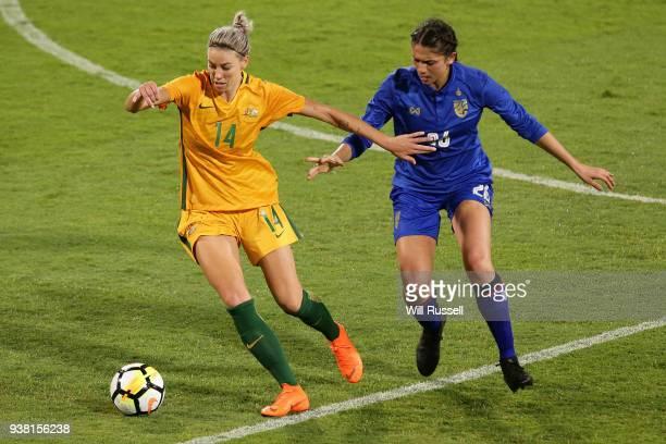 Alanna Kennedy of the Matildas controls the ball during the International Friendly Match between the Australian Matildas and Thailand at NIB Stadium...