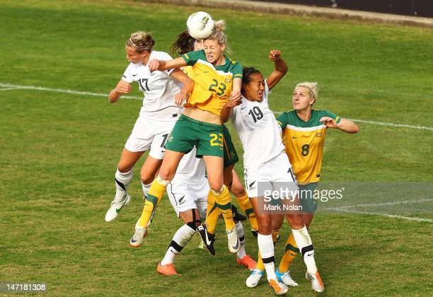 Alanna Kennedy of the Matildas in acgion during the women's international friendly match between the Australian Matildas and New Zealand at WIN...