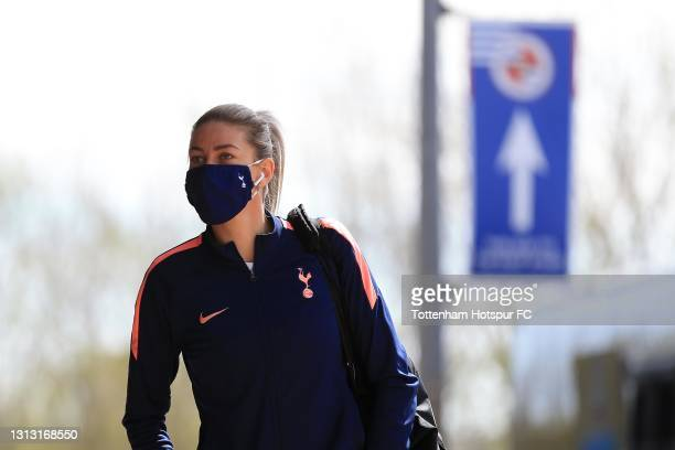 Alanna Kennedy of Tottenham Hotspur arrives during the Vitality Women's FA Cup Fourth Round match between Reading Women and Tottenham Hotspur Women...