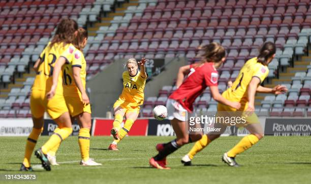 Alanna Kennedy of Tottenham Hotspur scores their side's first goal during the Barclays FA Women's Super League match between Manchester United Women...
