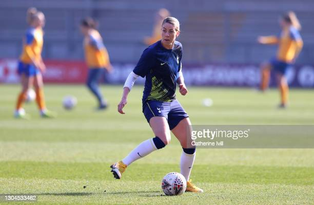 Alanna Kennedy of Tottenham Hotspur warms up prior to the Barclays FA Women's Super League match between Tottenham Hotspur Women and Everton Women at...