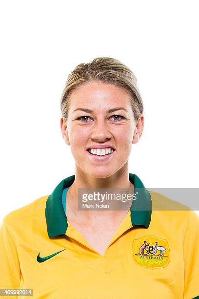 Alanna Kennedy poses during an Australian Matildas headshots session at AIS on February 20 2015 in Canberra Australia
