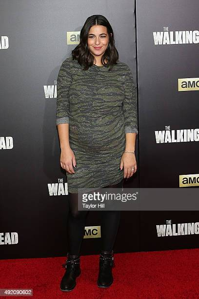 Alanna Masterson attends 'The Walking Dead' premiere at Madison Square Garden on October 9 2015 in New York City