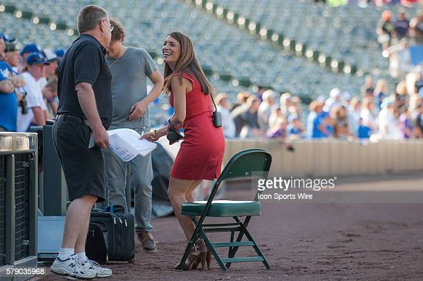 Alanna Rizzo gets ready to give an interview during a regular season Major League Baseball game between the Los Angeles Dodgers and the Colorado...
