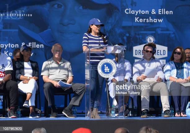 Alanna Rizzo speaks at the grand opening of the Los Angeles Dodgers Foundation's 50th Dreamfield at Algin Sutton Recreation Center on September 22...