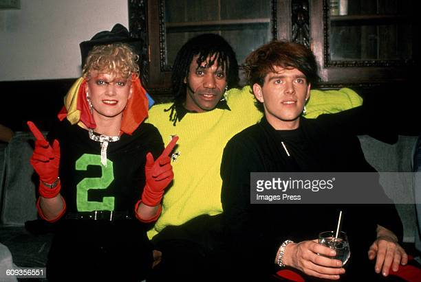 Alannah Currie Joe Leeway and Tom Bailey of The Thompson Twins circa 1984 in New York City