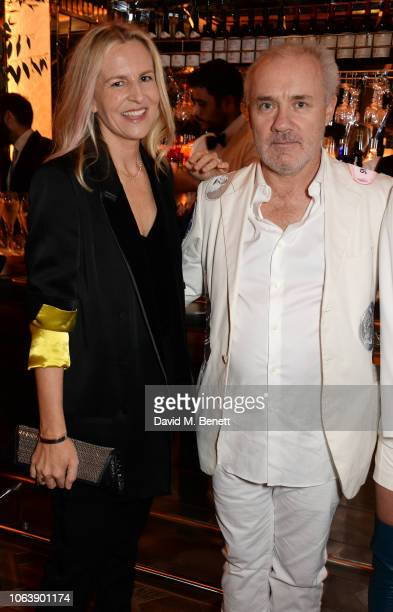Alannah Weston and Damien Hirst attend the launch of new restaurant Brasserie Of Light at Selfridges on November 20 2018 in London England