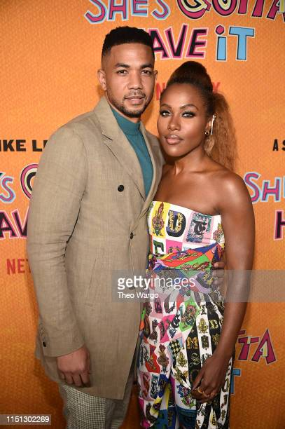 Alano Miller and Dewanda Wise attend the She's Gotta Have It Season 2 Premiere at Alamo Drafthouse on May 23 2019 in Brooklyn New York