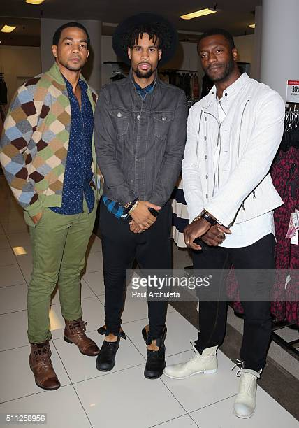 Alano Miller Josiah Bell and Aldis Hodge attend Macy's 2016 Black History Month Celebration at Macy's Baldwin Hills on February 18 2016 in Los...