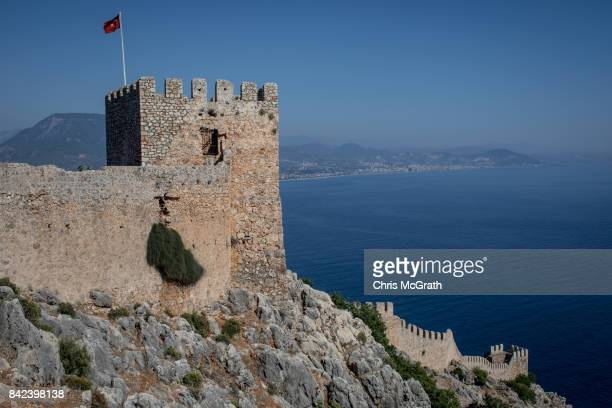 Alanya castle is seen in front of the Alanya coastline on September 3 2017 in Alanya Turkey Turkey's tourism industry spiraled into crisis in 2016...