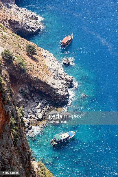 Alanya - looking down to ships with bathing tourist