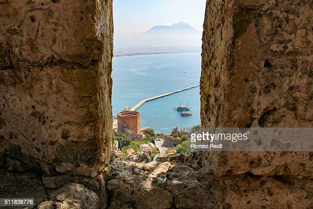 Alanya - looking through the castle bastion to the red tower