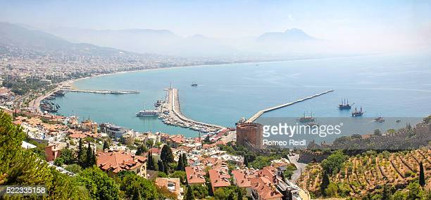 Alanya - small city panorama with the red tower and the harbor