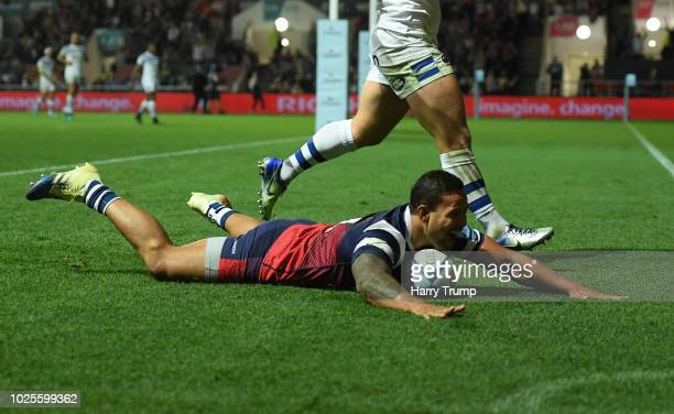 Alapati Leiua of Bristol Bears scores a try during the Gallagher Premiership Rugby match between Bristol Bears and Bath Rugby at Ashton Gate on...
