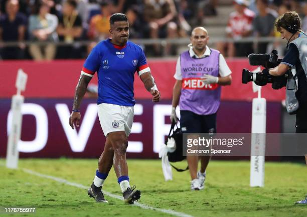 Alapati Leiua of Samoa is sent to the sin bin after receiving a yellow card during the Rugby World Cup 2019 Group A game between Russia and Samoa at...