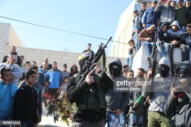 AlAqsa Martyrs' Brigades members attend the funeral ceremony of Palestinian Basil Ibrahim who was killed on Israeli security forces' intervention to...