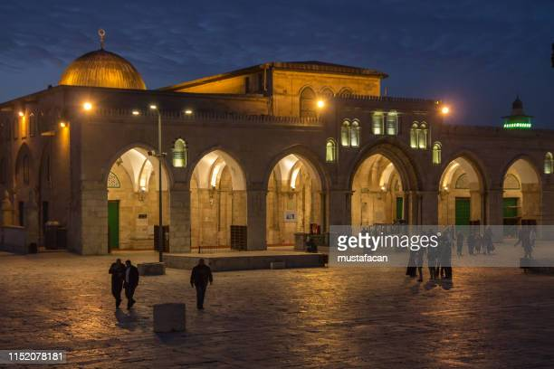 al-aqsa mosque after the morning prayer - mosque stock pictures, royalty-free photos & images