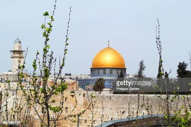 al-aqsa mosque and dome of the rock - moskee stockfoto's en -beelden