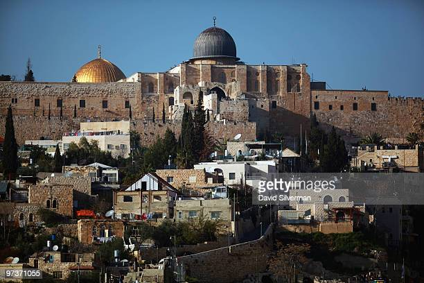 AlAqsa mosque and the golden Dome of the Rock Islamic shrine look down March 2 2010 on the East Jerusalem neighborhood of Silwan Jerusalem Mayor Nir...