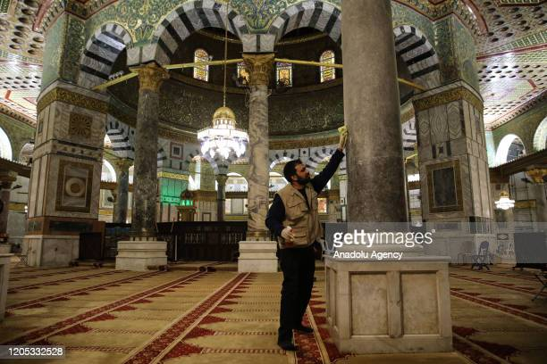 AlAqsa Mosque Compound is being sterilized by a man in Jerusalem in March 5 2020 AlAqsa began to be sterilized before and after the prayers amid...