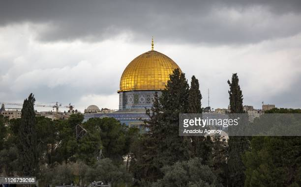 AlAqsa Mosque Compound is seen as Palestinians perform Friday prayer inside the AlRahma Gate after the continued closure by Israeli police in...