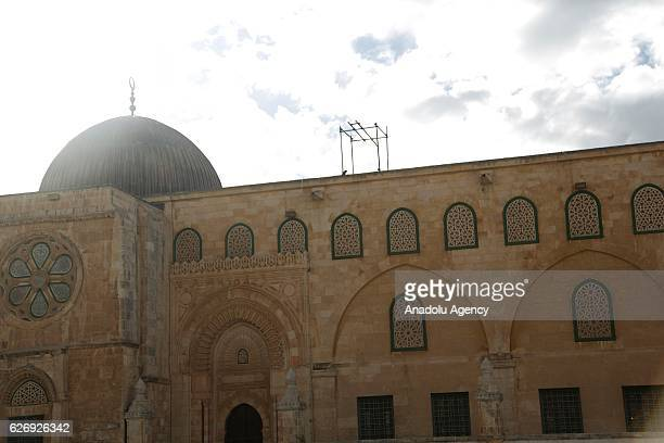 Al-Aqsa Mosque is seen after its interior restoration works completed in Jerusalem on November 30, 2016. Dome of Rock's interior restoration has been...