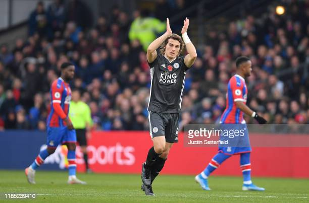 Çağlar Söyüncü of Leicester City celebrates after scoring his sides first goal during the Premier League match between Crystal Palace and Leicester...