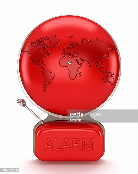 Alarm bell with earth map