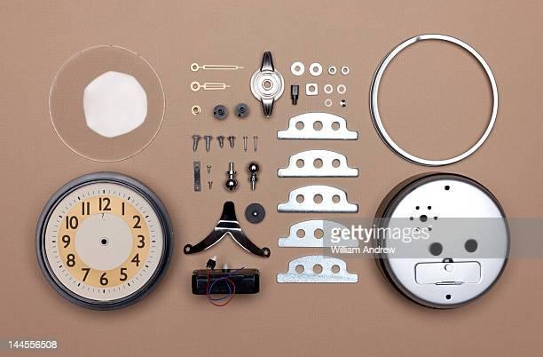 Alarm clock broken down into individual parts